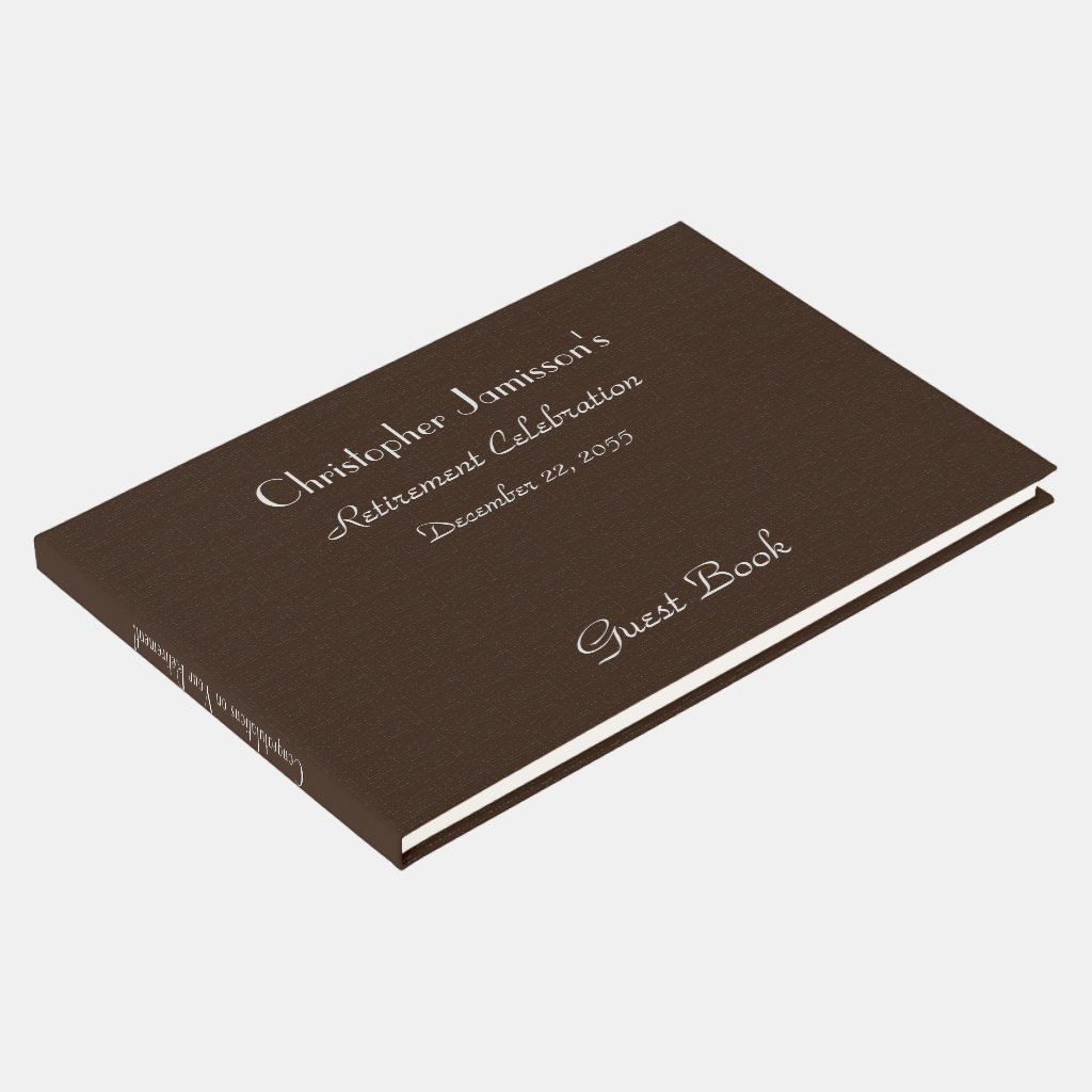 Retirement Party Sign-In Book Faux Textured Burlap