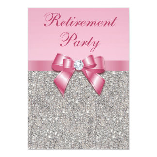Retirement Party Silver Jewels Pink Faux Bow 13 Cm X 18 Cm Invitation Card