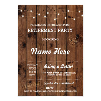 Retirement Party Vintage Retired Wood Invitation