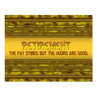 Retirement Pay Postcard