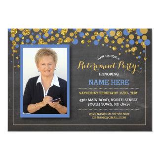 Retirement Photo Blue Chalk Party Invitation
