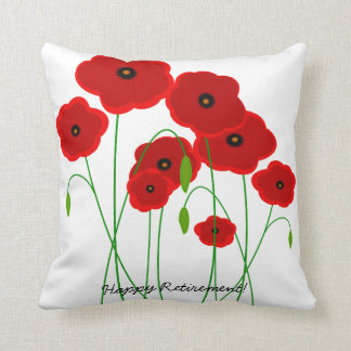 Retirement Pillow Red Poppies