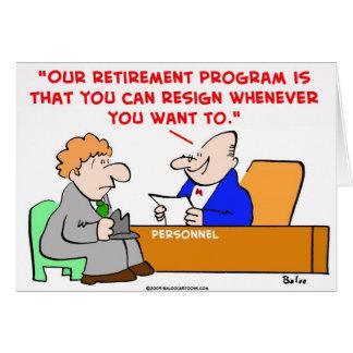 retirement program resign greeting card