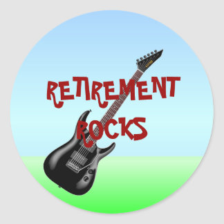 RETIREMENT ROCKS CLASSIC ROUND STICKER