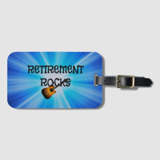 Retirement Rocks, guitar on blue sunburst design Bag Tag
