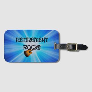 Retirement Rocks, guitar on blue sunburst design Luggage Tag