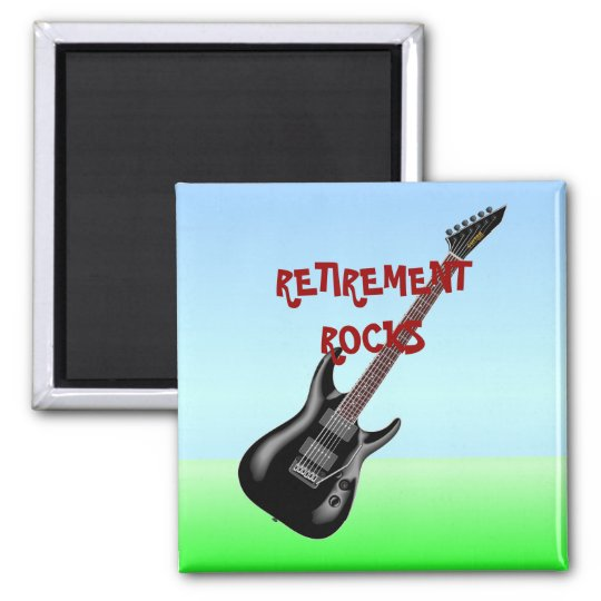 RETIREMENT ROCKS SQUARE MAGNET