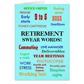 Retirement Swear Words! Customisable Greeting Card