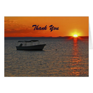 Retirement Thank You Fishing Boat at Sunset Note Card