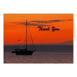 Retirement Thank You Sailboat at Sunset Note Card