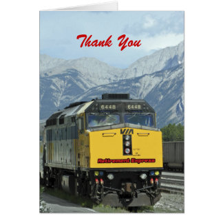 Retirement Thank You, Yellow Train Card