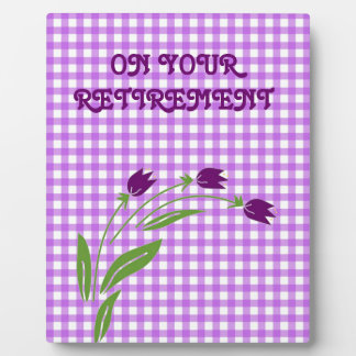 Retirement Tulips On Purple Check Background Plaque