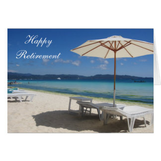 retiring blue beach greeting card