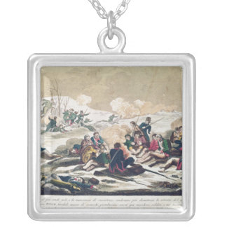 Retreat from Moscow, engraved by J. Hassell Square Pendant Necklace