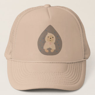 Retriever in the rain trucker hat