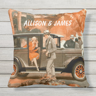 Retro 1920's Flapper Lady Classical Car Road Trip Outdoor Cushion