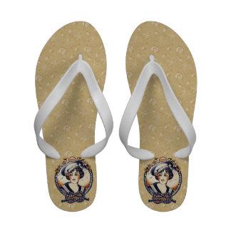 Retro 1920s Sailor Girl Flip-Flops
