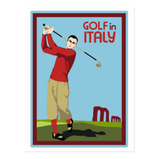 Retro 1920s style Golf in Italy travel ad Postcard