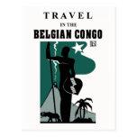 Retro 1930s African style Belgian Congo travel Postcard