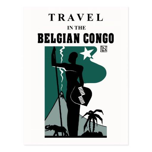 Retro 1930s African style Belgian Congo travel Postcards