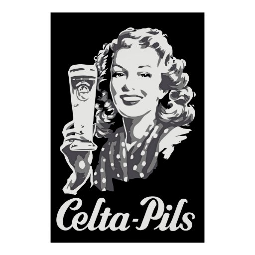 Retro 1940s-1950s style Belgian beer logo ad Poster