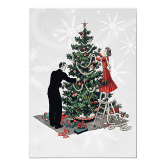 Retro 1940s Christmas Tree Card