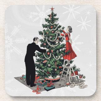 Retro 1940s Christmas Tree Coaster