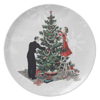 Retro 1940s Christmas Tree Dinner Plates