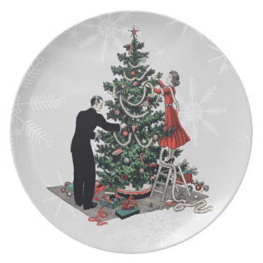 Retro 1940s Christmas Tree Plates