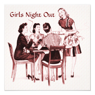 Retro 1940s Girls Night Out 13 Cm X 13 Cm Square Invitation Card