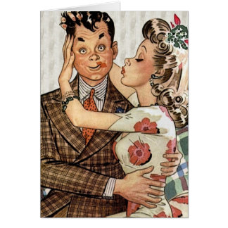 Retro 1940s Kissing Couple Card