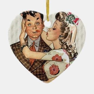Retro 1940s Kissing Couple Christmas Ornament
