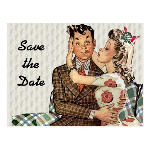Retro 1940s Kissing Couple Save the Date Post Card