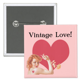 Retro 1940s Love 15 Cm Square Badge