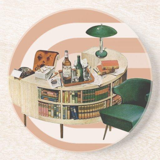 Retro 1940s Office Beverage Coaster Zazzle