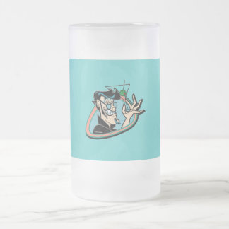 Retro 1950 Martini Man Glass Frosted Glass Beer Mug