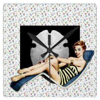 Retro 1950s Beach Pinup Clocks