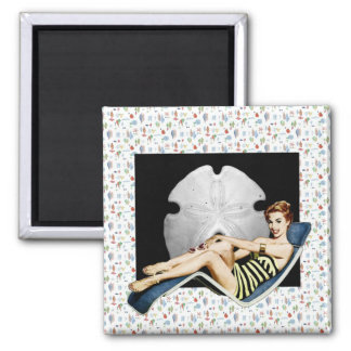 Retro 1950s Beach Pinup Square Magnet