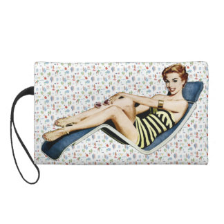 Retro 1950s Beach Pinup Wristlet Clutch