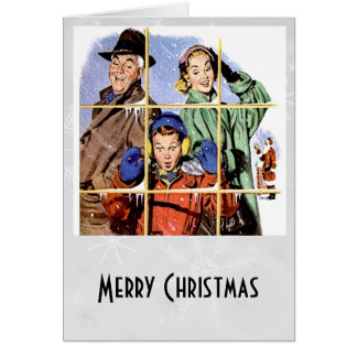 Retro 1950s Christmas Window Card