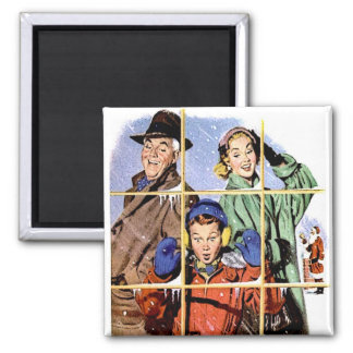 Retro 1950s Christmas Window Square Magnet
