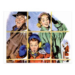 Retro 1950s Christmas Window Post Card