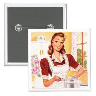 Retro 1950s Cook 15 Cm Square Badge