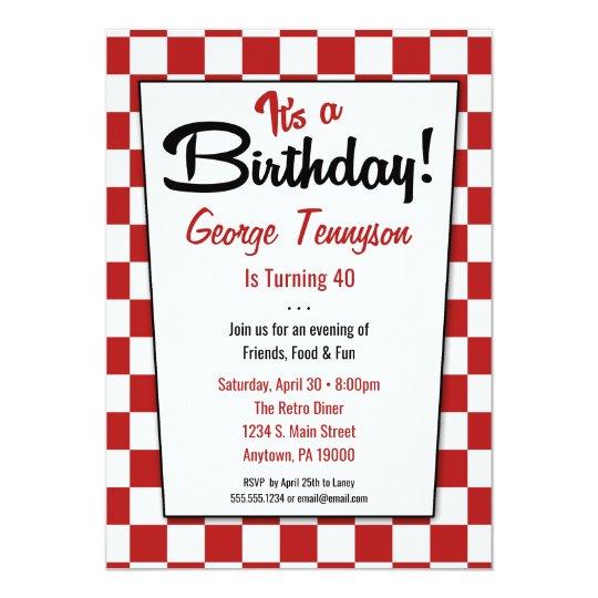 Retro 1950s Diner Red White Birthday Invitations