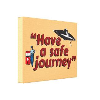 "Retro 1950s gas station attendant: ""Safe journey""… Canvas Print"
