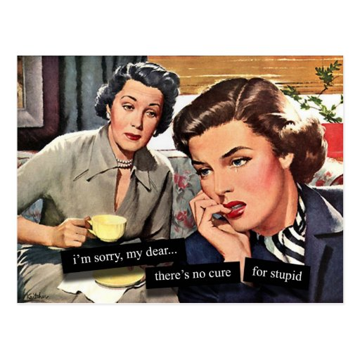 """Retro 1950s Housewife """"No Cure for Stupid"""" Post Cards"""