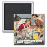 "Retro 1950s housewife ""remember the arsenic?"" square magnet"