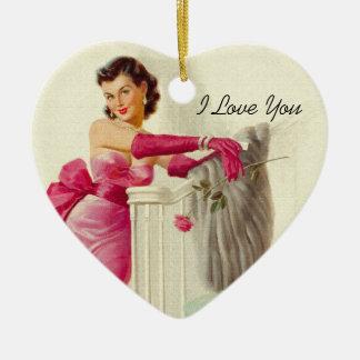 Retro 1950s Love Ceramic Heart Decoration