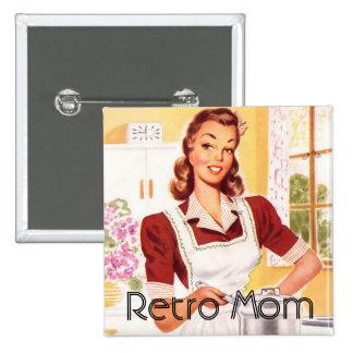 Retro 1950s Mom Cooking 15 Cm Square Badge