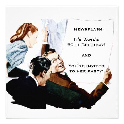 Retro 1950s Newspaper Invite